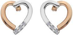 Hot Diamonds Bicolor náušnice Glide Heart DE471 stříbro 925/1000