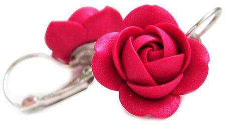 Troli Csillogó rubin virág fülbevaló