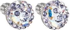 Evolution Group Slušivé náušnice s krystaly Violet 31136.3 stříbro 925/1000