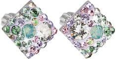 Evolution Group Něžné čtvercové náušnice s krystaly Sakura 31169.3 stříbro 925/1000