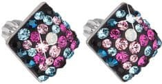 Evolution Group Slušivé čtvercové náušnice s krystaly Galaxy 31169.4 stříbro 925/1000