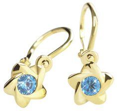 Brilio Zlaté dětské náušnice s modrými krystaly 236 001 00937 - 0,80 g zlato žluté 585/1000