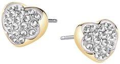 Guess Pozlacené náušnice srdíčka s krystaly UBE71515