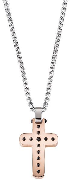 Morellato Pánský ocelový bicolor náhrdelník s křížem Cross SKR30