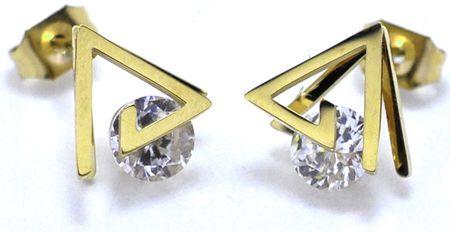 Troli KE-010háromszög alakú, aranyozott nemesacél fülbevaló kristályokkal