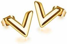 """Troli Pozlacené náušnice z oceli ve tvaru """"V"""""""