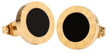 Troli Płyty stalowe kolczyki z czarnym środkowej KE-015