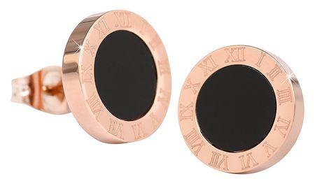 Troli Różowe kolczyki platerowane stali z czarnym środkowej KE-015