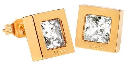 Troli Kwadratowe złote kolczyki z krystalicznie KE-011