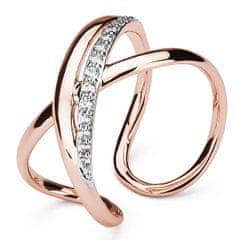 Brosway Otwarty pierścień bicolor z cyrkonem Wstęgę BBN32