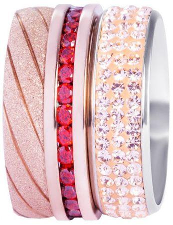 Preciosa Három darabos piros és rózsaszín színű gyűrű szett 7304 70 (áramkör 53 mm)