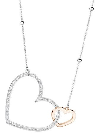 Brosway Oceľový bicolor náhrdelník so srdiečkami Minuetto BMU01