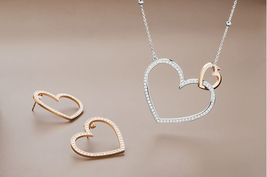 Brosway Jeklena dvobarvna ogrlica s srčki Minuetto BMU01