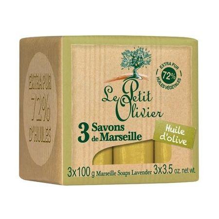 Le Petit Olivier Marseillské mydlo s olivovým olejom (Marseille Soaps) 3 x 100 g