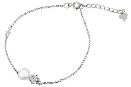 JwL Luxury Pearls Ezüst karkötő igazgyönggyel és kristállyal JL0315 ezüst 925/1000