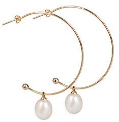 JwL Luxury Pearls Pozlacené půlkruhové náušnice 2v1 s pravými perlami JL0298 stříbro 925/1000