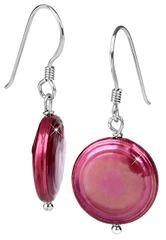 JwL Luxury Pearls Stříbrné náušnice s pravou fuchsiovou perlou JL0301 stříbro 925/1000