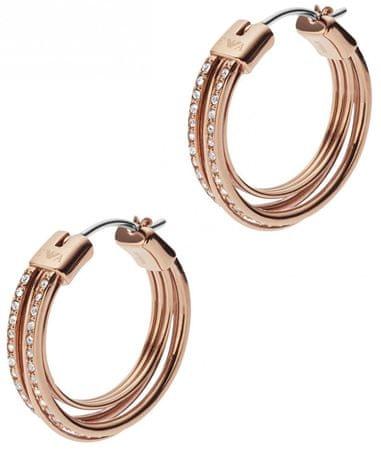 Emporio Armani Bronzové náušnice kruhy s krystaly EGS2196221