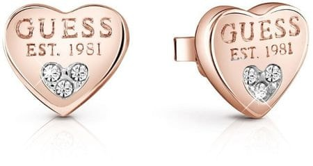 Guess Kształcie serca kolczyki z Crystalami UBE82083