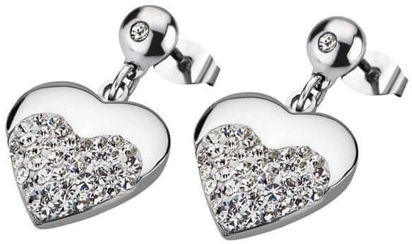 Lotus Style Srdíčkové ocelové náušnice s krystaly LS1769-4/1