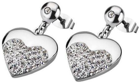 Lotus Style Kształcie serca kolczyki stalowe Crystalów LS1769-4 / 1