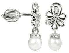 Brilio Náušnice z bílého zlata s krystaly a perlou 235 001 00408 07 - 1,90 g zlato bílé 585/1000