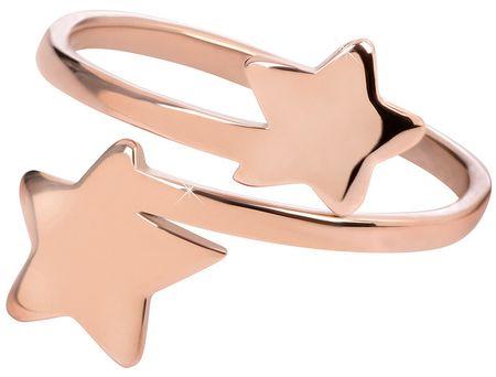 Troli Růžově pozlacený ocelový prsten s hvězdičkami