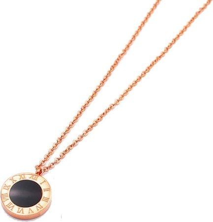 Troli Ružovo pozlátený náhrdelník s obojstranným príveskom