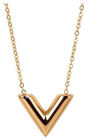 """Troli Pozlátený náhrdelník s príveskom v tvare """"V"""""""