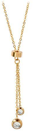 Troli Pozlátený oceľový náhrdelník s kryštálmi