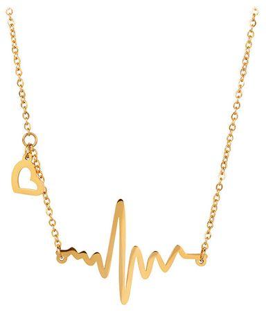 Troli Originálny pozlátený náhrdelník Srdcový tep KNSC-253