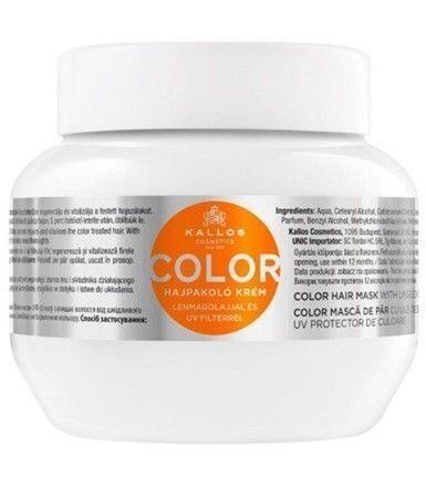 Kallos Maska do włosów farbowanych z olejem lnianym i filtrem UV (kolor włosów Maska) (objętość 275 ml)