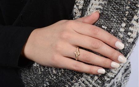 49a7c5496 Zlatý prsteň s čírymi kryštálmi 229 001 00638 (Obvod 54 mm) žlté zlato 585.  »«