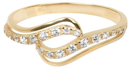 3d80e079c Zlatý prsteň s čírymi kryštálmi 229 001 00638 (Obvod 54 mm) žlté zlato 585