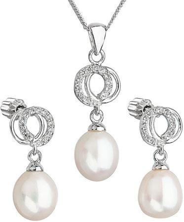Evolution Group Gyönyörű cirkónia kővel díszített gyöngy szett 29003.1 fehér ezüst 925/1000