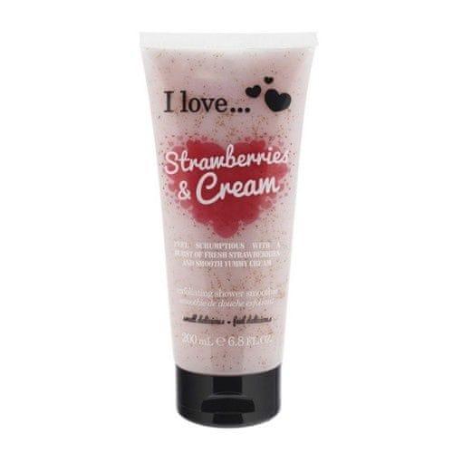 I Love Přírodní sprchový peeling s vůní jahod a jemného krému (Strawberries & Cream Exfoliating Shower Smoothie) 200 ml