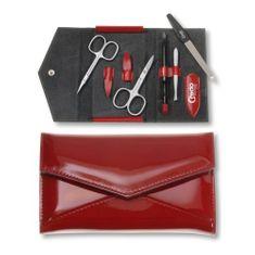 Credo Solingen Luksusowy 5-częściowy czerwony manicure w etui ze sztucznej skóry Ognia 5