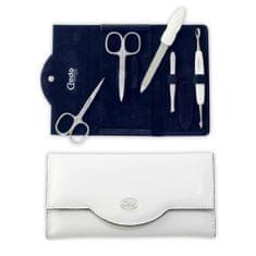 Credo Solingen Luxusní 5dílná manikúra v bílém koženkovém pouzdře Bianco 5