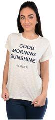 Tommy Hilfiger Dámske tričko Cotton Icon ic / Tommy Tee Sn Tee Ss Slogan UW0UW00343-003 Egret