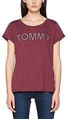Tommy Hilfiger Dámske tričko Cotton Icon ic / Tommy Tee Sn Tee Ss UW0UW00401-502 Grape Wine