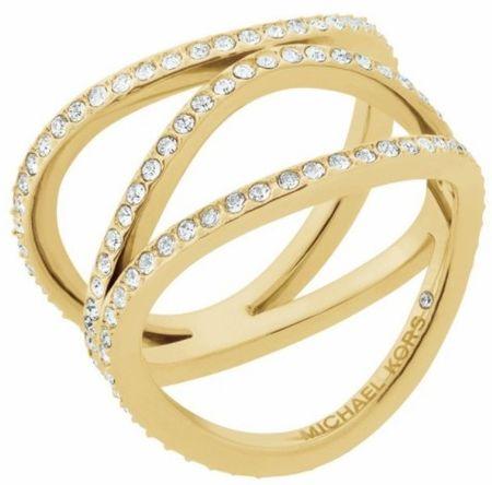 Michael Kors Powleczone pierścień stalowy z kryształów MKJ6638710 (obwód 58 mm)