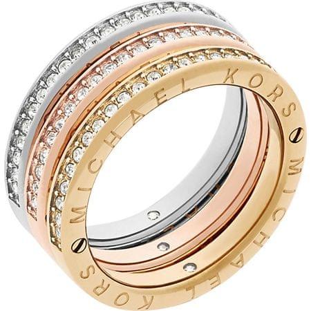 Michael Kors Zestaw trzech pierścieni laminowanych Tricolor MKJ6388998 (obwód 58 mm)