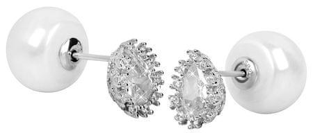 JwL Luxury Pearls Obojstranné náušnice s pravými perlami a kryštály JL0330 striebro 925/1000