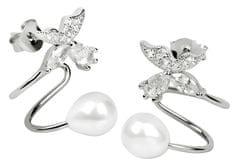 JwL Luxury Pearls Stříbrné záušnice s pravou bílou perlou a krystalovou kytičkou JL0332 stříbro 925/1000