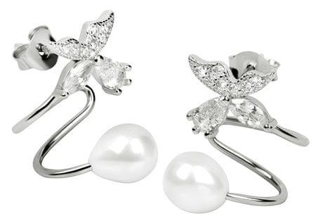 JwL Luxury Pearls Strieborné záušnice s pravou bielou perlou a kryštálovú kytičkou JL0332 striebro 925/1000