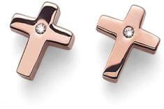 Oliver Weber Růžově pozlacené ocelové náušnice křížky Cross 22670RG