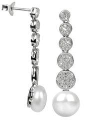 JwL Luxury Pearls Stříbrné náušnice s pravou perlou a zirkony JL0337 stříbro 925/1000