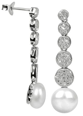 JwL Luxury Pearls Strieborné náušnice s pravou perlou a zirkónmi JL0337 striebro 925/1000