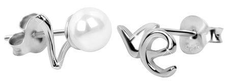 JwL Luxury Pearls Strieborné náušnice Love s pravou bielou perlou JL0352 striebro 925/1000
