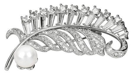 JwL Luxury Pearls Prekrásna brošňa s pravou bielou perlou a kryštály JL0358